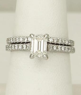 LADIES 750 18k WHITE GOLD 1.40ct EMERALD CUT DIAMOND ENGAGEMENT WEDDING RING SET