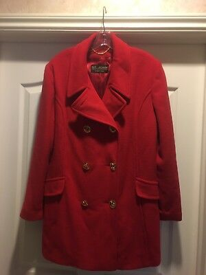 Womens Red Cashmere & Wool Coat by St John Collection-by-Marie Gray Size 16