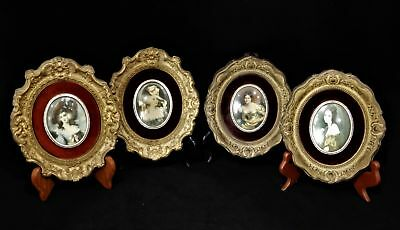 Lot Of 4 Antique Miniature Pretty Lady Portrait Paintings Framed W/ Gold Gilding