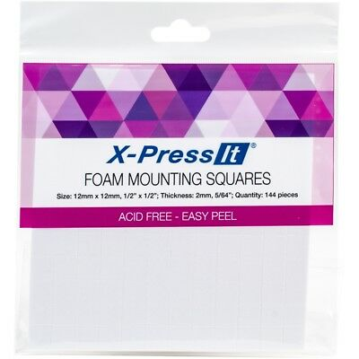 "X-press It Foam Mounting Squares .5""x.5"" 144/pkg-white"
