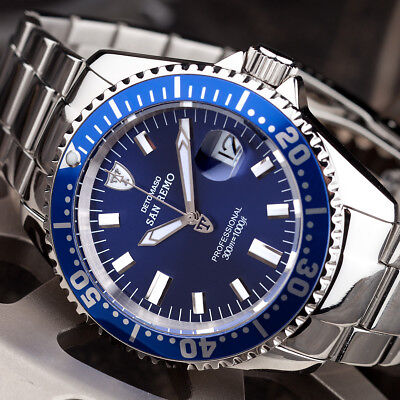DETOMASO San Remo Mens Diving Watch Stainless Steel Automatic Blue 30 ATM New