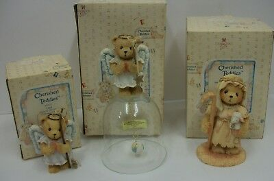 Lot of 3 Christmas Cherished Teddies with Boxes Figurine Ornament & Bell