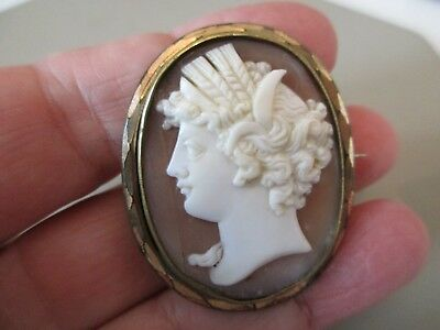 Antique Vintage Victorian Large Carved Shell Cameo Brooch Pin Fob Pendant Old