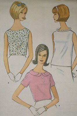 Vintage 1960s McCall's 8250 French Dart Fitted Blouse Pattern 36B sz 16 Unc