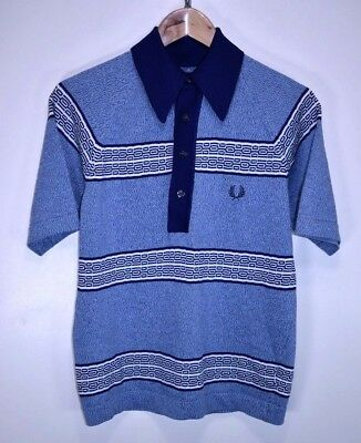 FRED PERRY VINTAGE 60s MOD SKINS PUNK RETRO SHORT SLEEVED POLO SHIRT size MEDIUM
