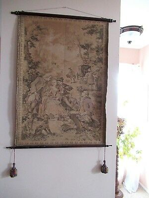 """Antique 36"""" X 26"""" French Tapestry Wall Hanging Marquise Pompadour Picnic Scene"""