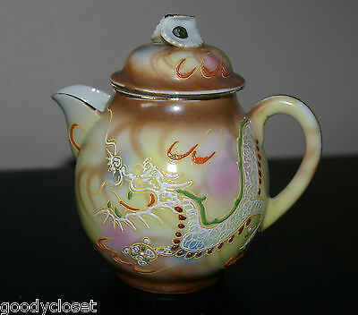 Nippon Yellow And Brown Moriage Dragonware Individual Teapot Creamer With Lid