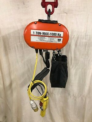 110v Chain Hoist CM Lodestar Electric Block & Tackle with free Beam Clamp