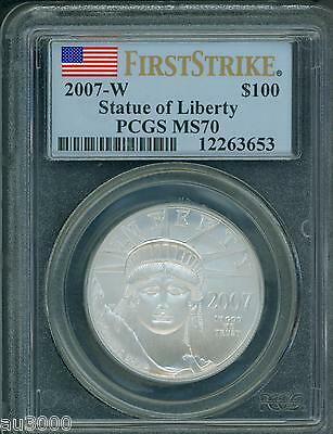 2007-W $100 BURNISHED PLATINUM EAGLE 1 Oz. PCGS MS70 MS-70 FIRST STRIKES F.S.