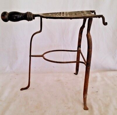 Antique Wrought Iron & Brass Fireplace Hearth Trivet Blacksmith Mortise,rivets
