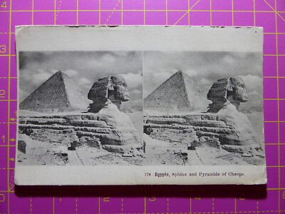 Antique Stereoscope Photograph of Sphinx & Pyramid of Cheops, Egypt Stereoview