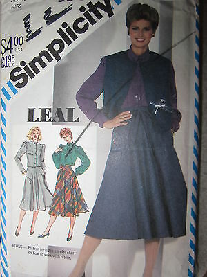 5604 VINTAGE Simplicity Sewing Pattern Misses LEAL DESIGN Bias Skirt Top Jacket
