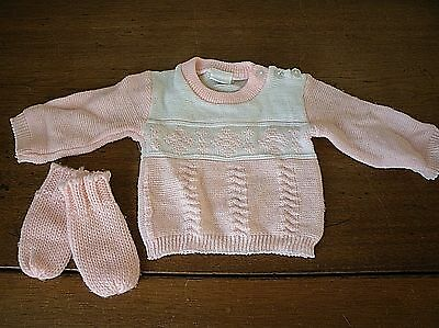Vintage Baby PINK & White KNIT sweater & Mittens by Little Bit 0-6 mo. (BC42)