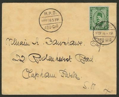 British Forces in Egypt 1936 King Fuad 3m Used Cover SG A12 MPO ABU-QIR Postmark
