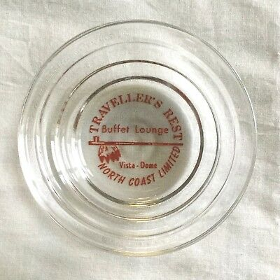 """Northern Pacific ( NP )  """" Traveller's Rest """"   Clear glass """" Bee-Hive """" ashtray"""