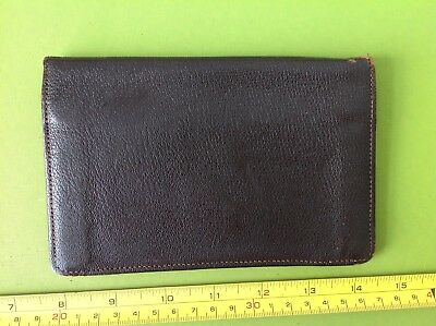OLD RETRO 50s VINTAGE BROWN REAL MOROCCO LEATHER CARD CASE MONEY QUALITY WALLET