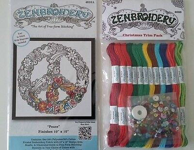 *** Zenbroidery Peace Kit & Christmas Thread Pack *** Xmas Stocking Filler ***