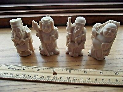 4 Chinese Carved Monk Figures, Ivory Color