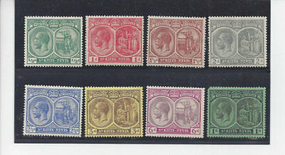 St. Kitts-Nevis:1921-29 8 values from KGV iissue, (Sc 37,38,41,42,43c,46,47,48)