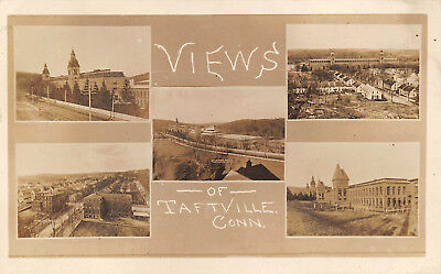 TAFTVILLE, CT ~ MULTI-VIEW PC OF TOWN ~ REAL PHOTO POST CARD ~ used 1913