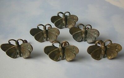 Set of 6 Original Vintage Solid Brass Butterfly Cabinet Knobs With Aged Patina