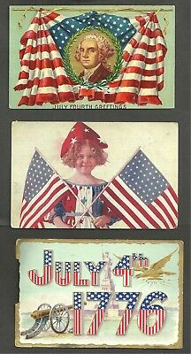M1453 - 3 ANTIQUE POSTCARDS, GEORGE WASHINGTON, GIRL w/FLAGS, JULY 4th.1776