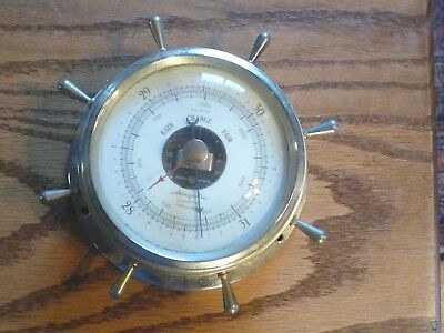 Vintage AIRGLIDE ship wheel wall BAROMETER silver color convex glass face
