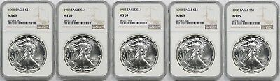 Lot 5- 1988 Silver Eagle Dollar $1 MS 69 NGC 1 oz Fine Silver (5 Coins)