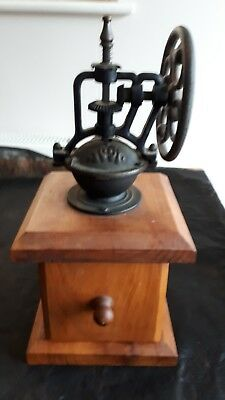 Ornate Vintage Coffee Grinder/Mill Wood and Cast Iron.
