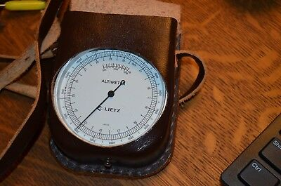 "2 3/4"" Lietz Barometer Altimeter With Leather Case Made in Japan"