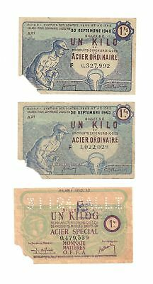 France Lot Of Three (3) Post Wwii Notgeld 1 Kilog 1945 Monnaie Matieres Vf+
