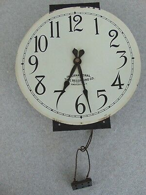 Old Antique International Time Recording Co Wall Clock Dial Movement Clock Parts