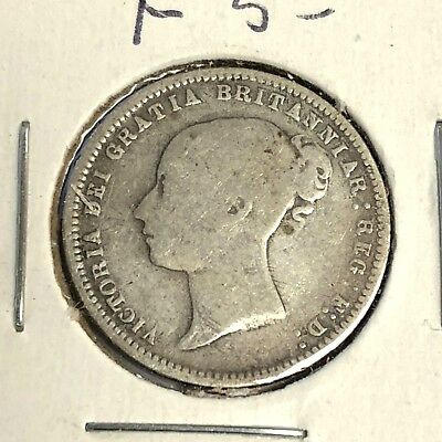 1872 Great Britain Sixpence, Victoria 6p sterling silver coin, KM#751.1