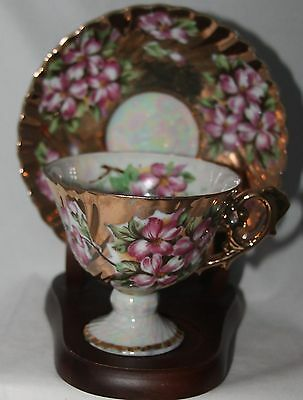 Vintage Relco Japan Footed CUP & SAUCER violets gold irredescent hand painted