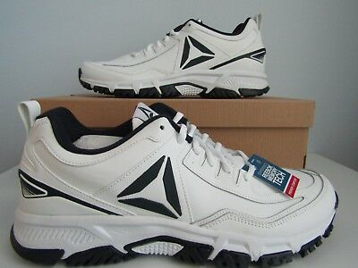 Reebok Mens White Ridgerider Shoes Size 11 Navy Leather Walking Sneakers New