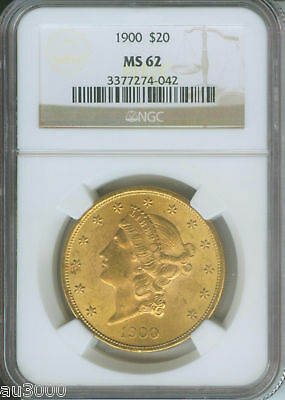 1900 1900-P $20 Liberty Double Eagle Ngc Ms-62 Gold Coin Ms62 !!!!!!