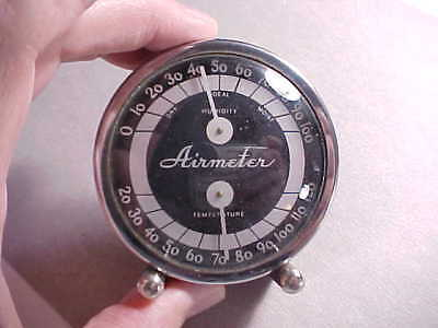 """1930s ART DECO CHROME """"AIRMETER"""" TABLE TOP TEMPERATURE & HUMIDITY GAUGE VG+"""