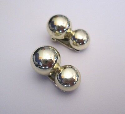 Vintage Coro Polished Gold Tone Double Round Ball Non Pierced Earrings Clip on