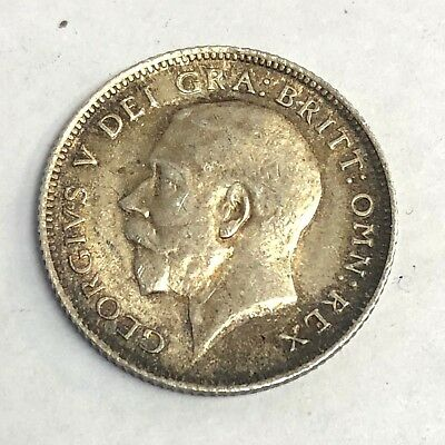 1919 Great Britain Sixpence, George V 6p silver, Strong Strike, VF