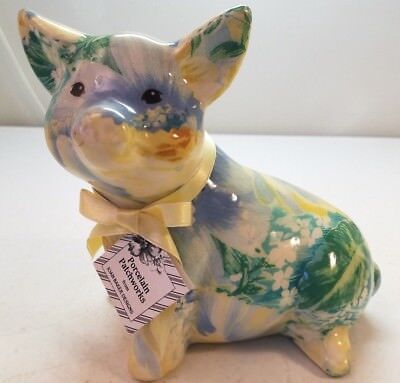 Porcelain Patchworks Pig Figure Art Deco Green Yellow Blue
