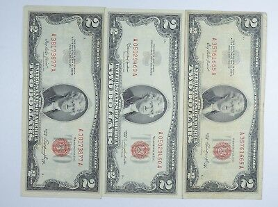 Lot (3) Red Seal $2.00 US 1953 or 1963 Notes - Currency Collection *094