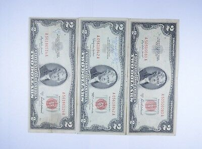 Lot (3) Red Seal $2.00 US 1953 or 1963 Notes - Currency Collection *081
