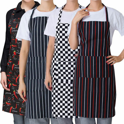 Womens Mens Cooking Aprons Chef Kitchen Restaurant Bib Apron Dress With Pocket