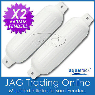 2 x BOAT FENDERS 560mm INFLATABLE RIBBED BUFFERS - TWIN EYE WHITE MOORING GUARDS