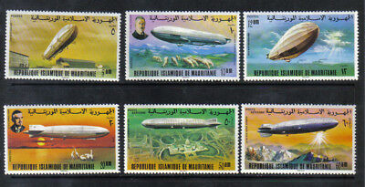 6 Mnh Mauritania Zeppelin Postage And Air Mail Stamps 345 - 348 C167 C168 1976