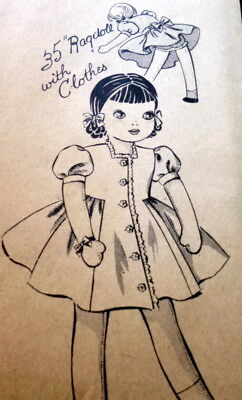 """GREAT VTG 1940s 35"""" DOLL & CLOTHING SEWING PATTERN Uncut"""