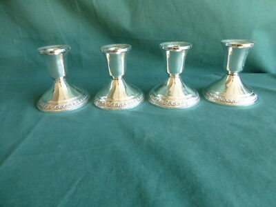 Four Antique Duchin Creation Sterling Silver Weighted Candle Holders