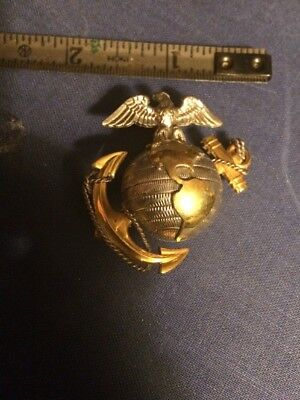 WW2 USMC OFFICERS cap Device Marine Corps WW2  EGA hat Badge