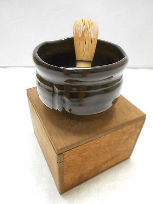 Japanese Tea Ceremony Pottery Bowl Chanoyu Traditional Vintage Whisk Clay  #163