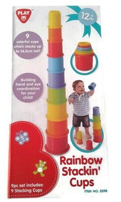 Brand New Playgo Rainbow Stacking Nesting Plastic Cups Toy 12m+ Set of 9 pieces